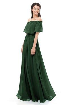 0f103c91e5 ColsBM Hana Hunter Green Bridesmaid Dresses Romantic Short Sleeve Floor  Length Pleated A-line Off
