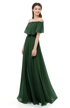 ColsBM Hana Hunter Green Bridesmaid Dresses Romantic Short Sleeve Floor Length Pleated A-line Off The Shoulder