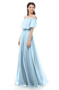ColsBM Hana Ice Blue Bridesmaid Dresses Romantic Short Sleeve Floor Length Pleated A-line Off The Shoulder