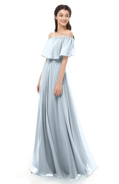 ColsBM Hana Illusion Blue Bridesmaid Dresses Romantic Short Sleeve Floor Length Pleated A-line Off The Shoulder