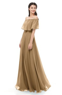 ColsBM Hana Indian Tan Bridesmaid Dresses Romantic Short Sleeve Floor Length Pleated A-line Off The Shoulder