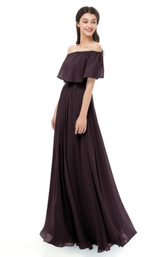 ColsBM Hana Italian Plum Bridesmaid Dresses Romantic Short Sleeve Floor Length Pleated A-line Off The Shoulder