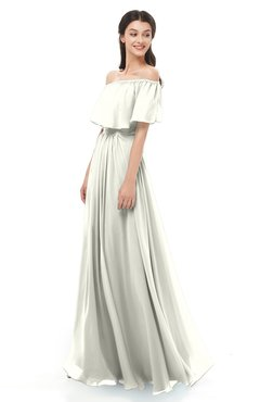 ColsBM Hana Ivory Bridesmaid Dresses Romantic Short Sleeve Floor Length Pleated A-line Off The Shoulder