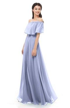ColsBM Hana Lavender Bridesmaid Dresses Romantic Short Sleeve Floor Length Pleated A-line Off The Shoulder