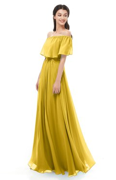 ColsBM Hana Lemon Curry Bridesmaid Dresses Romantic Short Sleeve Floor Length Pleated A-line Off The Shoulder