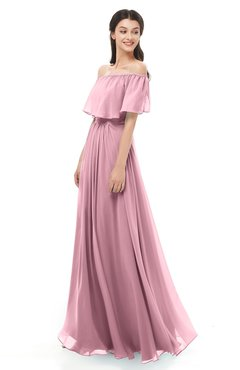 ColsBM Hana Light Coral Bridesmaid Dresses Romantic Short Sleeve Floor Length Pleated A-line Off The Shoulder