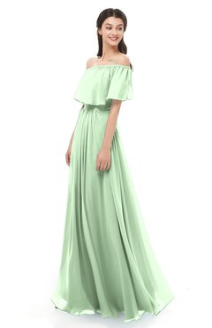 ColsBM Hana Light Green Bridesmaid Dresses Romantic Short Sleeve Floor Length Pleated A-line Off The Shoulder