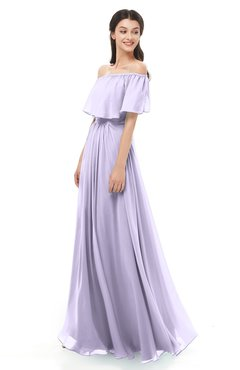 ColsBM Hana Light Purple Bridesmaid Dresses Romantic Short Sleeve Floor Length Pleated A-line Off The Shoulder