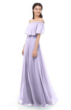 ColsBM Hana Light Purple Bridesmaid Dresses Romantic Short Sleeve Floor Length Pleated A-line Off The Shoulder