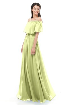 ColsBM Hana Lime Green Bridesmaid Dresses Romantic Short Sleeve Floor Length Pleated A-line Off The Shoulder