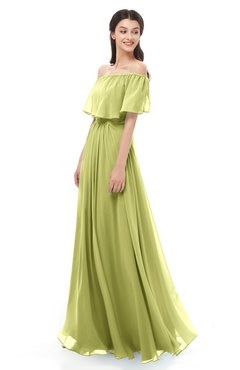 ColsBM Hana Linden Green Bridesmaid Dresses Romantic Short Sleeve Floor Length Pleated A-line Off The Shoulder