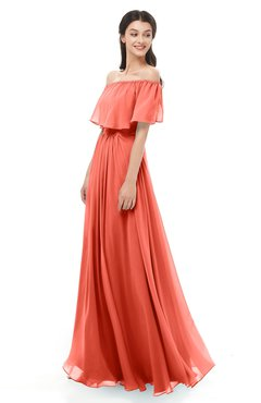 ColsBM Hana Living Coral Bridesmaid Dresses Romantic Short Sleeve Floor Length Pleated A-line Off The Shoulder