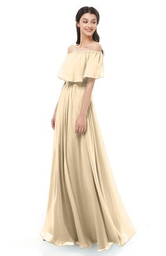 ColsBM Hana Marzipan Bridesmaid Dresses Romantic Short Sleeve Floor Length Pleated A-line Off The Shoulder