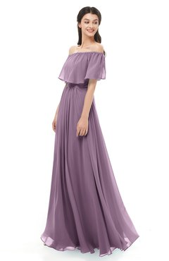 ColsBM Hana Mauve Bridesmaid Dresses Romantic Short Sleeve Floor Length Pleated A-line Off The Shoulder