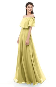 ColsBM Hana Misted Yellow Bridesmaid Dresses Romantic Short Sleeve Floor Length Pleated A-line Off The Shoulder