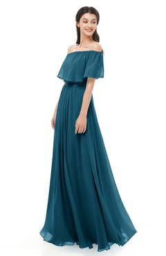 ColsBM Hana Moroccan Blue Bridesmaid Dresses Romantic Short Sleeve Floor Length Pleated A-line Off The Shoulder