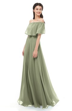 ColsBM Hana Moss Green Bridesmaid Dresses Romantic Short Sleeve Floor Length Pleated A-line Off The Shoulder