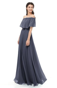 ColsBM Hana Nightshadow Blue Bridesmaid Dresses Romantic Short Sleeve Floor Length Pleated A-line Off The Shoulder