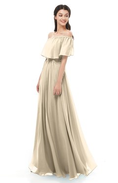 ColsBM Hana Novelle Peach Bridesmaid Dresses Romantic Short Sleeve Floor Length Pleated A-line Off The Shoulder
