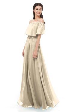 ColsBM Hana Novelle Peach Bridesmaid Dresses Romantic Short Sleeve Floor Length Pleated A-line Off The Shoulder