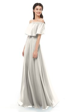 ColsBM Hana Off White Bridesmaid Dresses Romantic Short Sleeve Floor Length Pleated A-line Off The Shoulder