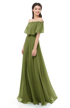ColsBM Hana Olive Green Bridesmaid Dresses Romantic Short Sleeve Floor Length Pleated A-line Off The Shoulder
