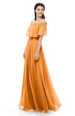 ColsBM Hana Orange Bridesmaid Dresses Romantic Short Sleeve Floor Length Pleated A-line Off The Shoulder