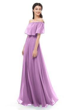 ColsBM Hana Orchid Bridesmaid Dresses Romantic Short Sleeve Floor Length Pleated A-line Off The Shoulder