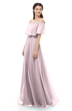 ColsBM Hana Pale Lilac Bridesmaid Dresses Romantic Short Sleeve Floor Length Pleated A-line Off The Shoulder