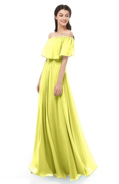 ColsBM Hana Pale Yellow Bridesmaid Dresses Romantic Short Sleeve Floor Length Pleated A-line Off The Shoulder