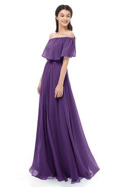 ColsBM Hana Pansy Bridesmaid Dresses Romantic Short Sleeve Floor Length Pleated A-line Off The Shoulder