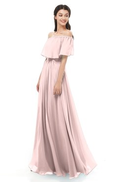 ColsBM Hana Pastel Pink Bridesmaid Dresses Romantic Short Sleeve Floor Length Pleated A-line Off The Shoulder