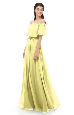 ColsBM Hana Pastel Yellow Bridesmaid Dresses Romantic Short Sleeve Floor Length Pleated A-line Off The Shoulder