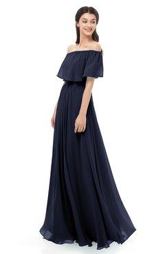 ColsBM Hana Peacoat Bridesmaid Dresses Romantic Short Sleeve Floor Length Pleated A-line Off The Shoulder