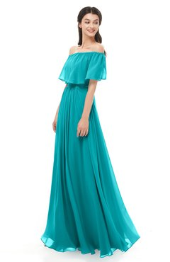 ColsBM Hana Peacock Blue Bridesmaid Dresses Romantic Short Sleeve Floor Length Pleated A-line Off The Shoulder
