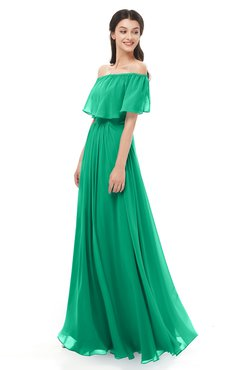 ColsBM Hana Pepper Green Bridesmaid Dresses Romantic Short Sleeve Floor Length Pleated A-line Off The Shoulder