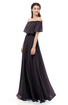 ColsBM Hana Perfect Plum Bridesmaid Dresses Romantic Short Sleeve Floor Length Pleated A-line Off The Shoulder