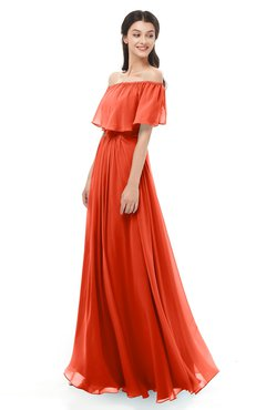 ColsBM Hana Persimmon Bridesmaid Dresses Romantic Short Sleeve Floor Length Pleated A-line Off The Shoulder