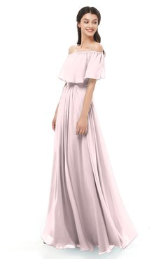 ColsBM Hana Petal Pink Bridesmaid Dresses Romantic Short Sleeve Floor Length Pleated A-line Off The Shoulder