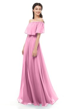 ColsBM Hana Pink Bridesmaid Dresses Romantic Short Sleeve Floor Length Pleated A-line Off The Shoulder