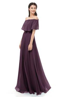 ColsBM Hana Plum Bridesmaid Dresses Romantic Short Sleeve Floor Length Pleated A-line Off The Shoulder