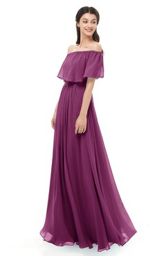 ColsBM Hana Raspberry Bridesmaid Dresses Romantic Short Sleeve Floor Length Pleated A-line Off The Shoulder