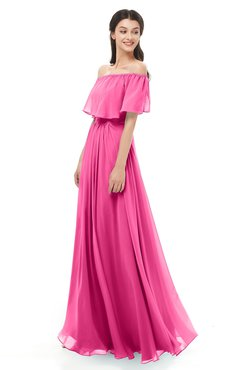 ColsBM Hana Rose Pink Bridesmaid Dresses Romantic Short Sleeve Floor Length Pleated A-line Off The Shoulder