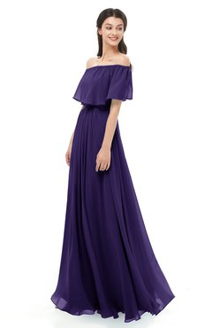 ColsBM Hana Royal Purple Bridesmaid Dresses Romantic Short Sleeve Floor Length Pleated A-line Off The Shoulder