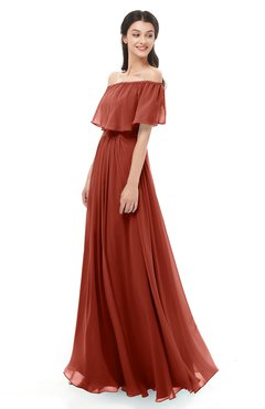 ColsBM Hana Rust Bridesmaid Dresses Romantic Short Sleeve Floor Length Pleated A-line Off The Shoulder