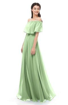 c6967b5206f2 ColsBM Hana Sage Green Bridesmaid Dresses Romantic Short Sleeve Floor  Length Pleated A-line Off