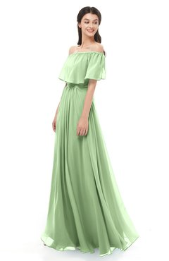ColsBM Hana Sage Green Bridesmaid Dresses Romantic Short Sleeve Floor Length Pleated A-line Off The Shoulder