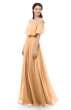 ColsBM Hana Salmon Buff Bridesmaid Dresses Romantic Short Sleeve Floor Length Pleated A-line Off The Shoulder