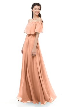 ColsBM Hana Salmon Bridesmaid Dresses Romantic Short Sleeve Floor Length Pleated A-line Off The Shoulder