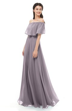 ColsBM Hana Sea Fog Bridesmaid Dresses Romantic Short Sleeve Floor Length Pleated A-line Off The Shoulder
